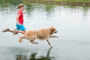 jumping in lake dog and girl