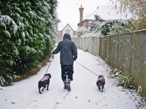 Kent, UK - Snow falls in Whitstable